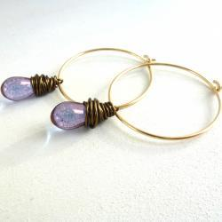 Wire Wrapped Earrings in Gold Filled and Brass with Purple Czech Glass Drops